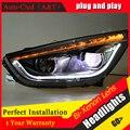 Auto faros Clud Para hyundai ix35 2010-2013 Para hyundai ix35 coche estilo bar LED DRL + kit HID + Q5 lente del xenón del bi parkin