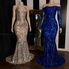 79a3517f Sparkly Sequined Silver Mermaid African Prom Dresses 2019 Royal Blue Long  Sleeve Graduation Formal Dress Plus