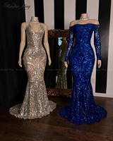 Sparkly Sequined Silver Mermaid African Prom Dresses 2020 Royal Blue Long Sleeve Graduation Formal Dress Plus Size Evening Gowns