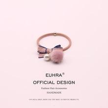 цены на EUHRA 5 Colors Faux Fur Striped Elastic Pearl Cute Bow-Knot Hair Bulb For Women Girl Hair Band Kid Children Rubber Band Headband  в интернет-магазинах