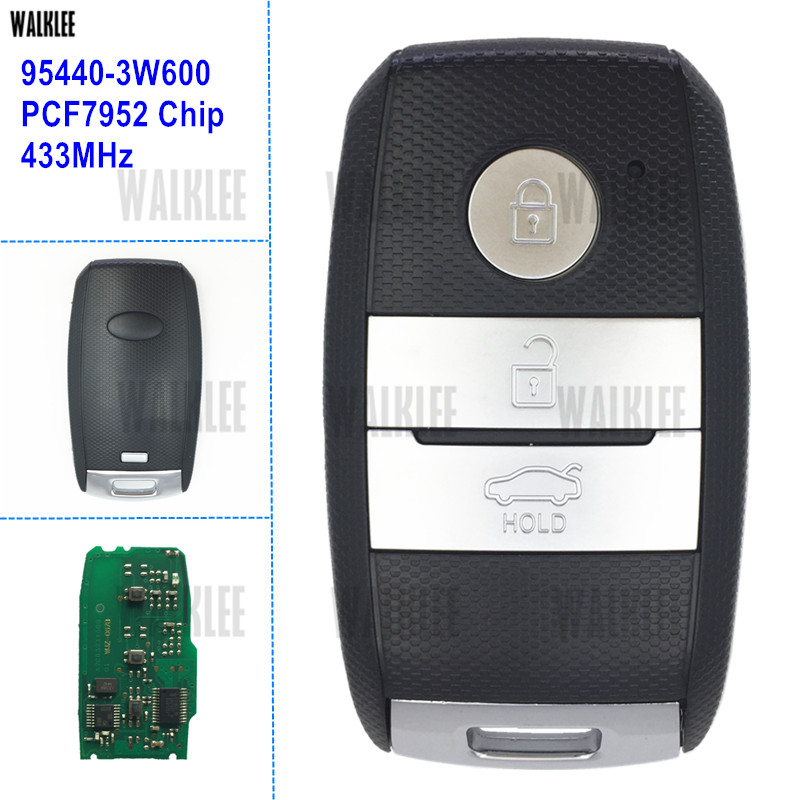 WALKLEE Smart Key 433MHz Suit for KIA 95440-3W600 for K5 Sportage Sorento Car Remote TOY40 Blade