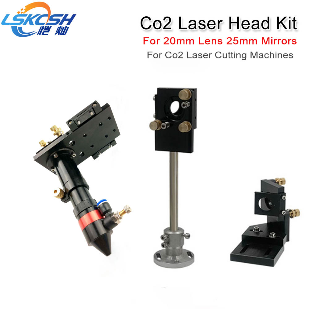 цена на LSKCSH CO2 Laser Head & Reflective Mirror Integrative Mounts Set for Laser Engraving and Cutting 20mm Lens 25mm mirrors