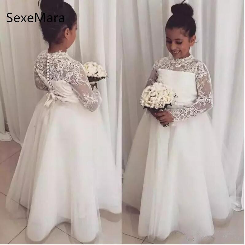 White Ivory Lace Flower Girl Dresses For Wedding Long Sleeves Girl Pageant Gown Floor Length Girls Dresses цена