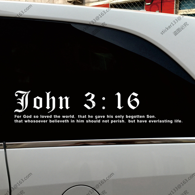 John 316 bible god jesus christ christian car truck decal bumper sticker windows vinyl