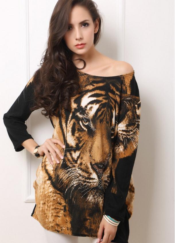 0a8e5bdb204 Большой размер секс леопарда женская новая зимняя горячей бурения тигр  фигура с длинными рукавами кашемир футболка роковой