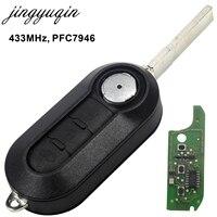 Jingyuqin 3 Knoppen Afstandsbediening Sleutelhanger 433 MHz Voor Fiat 500 Grande Punto 2010-2017 toetsen PCF7946/PCF7946AT Chip