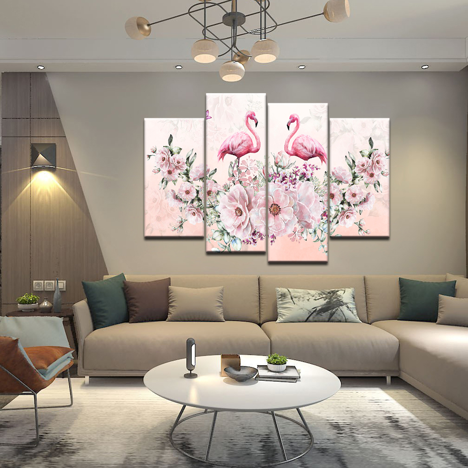 Акварельная Цветочная птица розовый Фламинго Картина на холсте стены Искусство