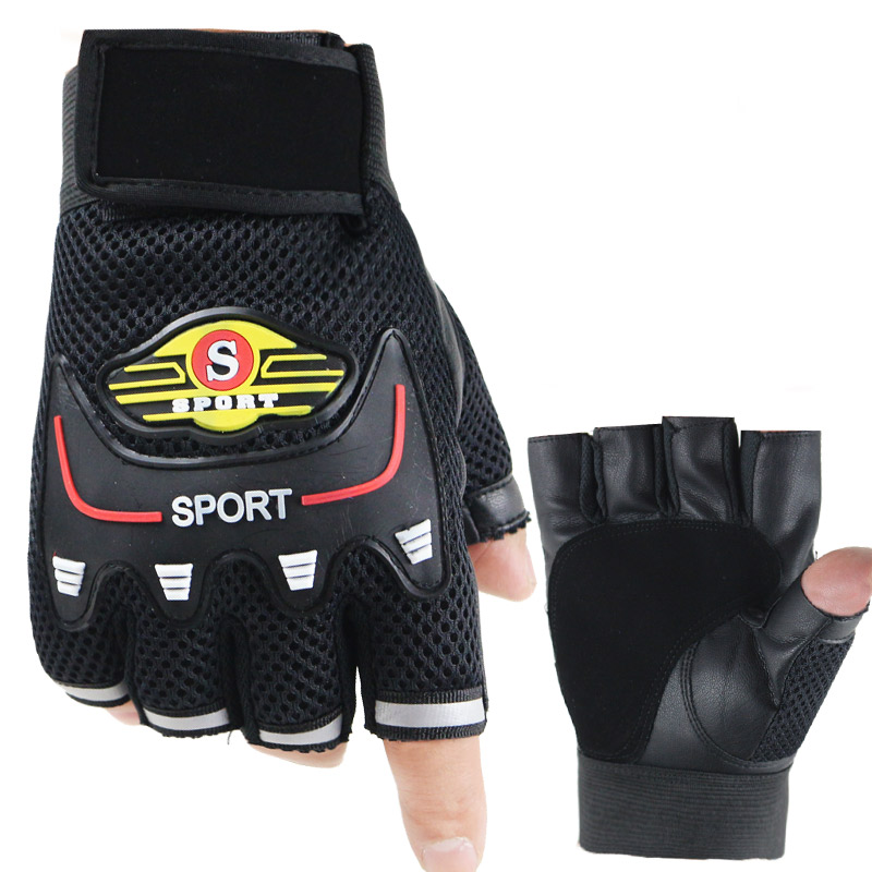 Leather Half Finger Gloves Fingerless Driving Gloves Breathable Anti-slip Gloves Motorcycle Fashion Outdoor Sun Protection