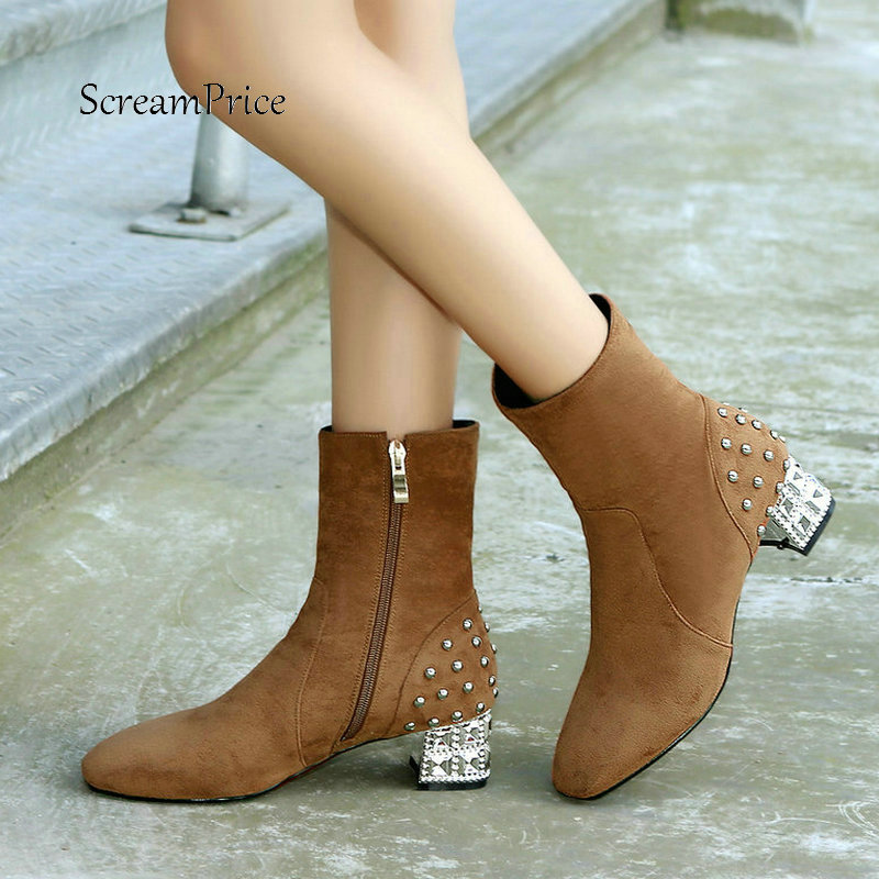 Women Faux Suede Comfortable Square Heel Side Zipper Ankle Boots Fashion Rivet Winter Shoes Black Brown Red цены