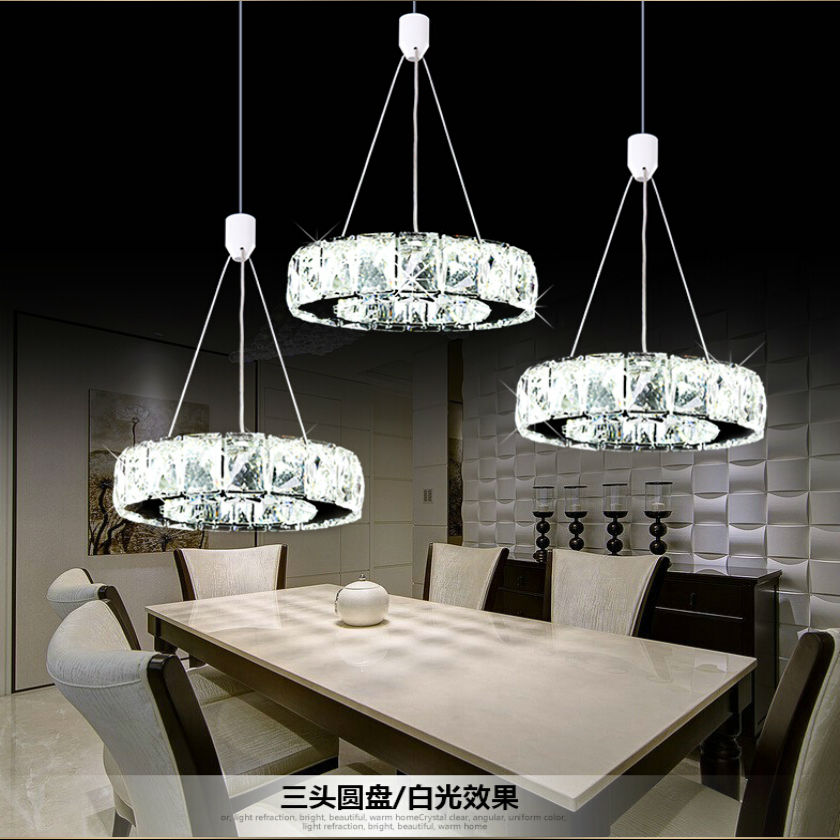 Modern LED crystal chandelier Round stainless steel pendant lamp luster light  Restaurant droplight E14 lamp 110V-260V restaurant crystal lamp square postmodern simple stainless steel bronze villa luxury led modern crystal chandelier for bedroom