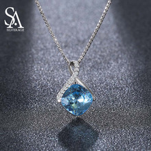 US Domestic Sale 925 Sterling Silver Blue Crystal Long Necklaces Pendants Fine Jewelry Water Drop Maxi Trendy Pendant Necklace