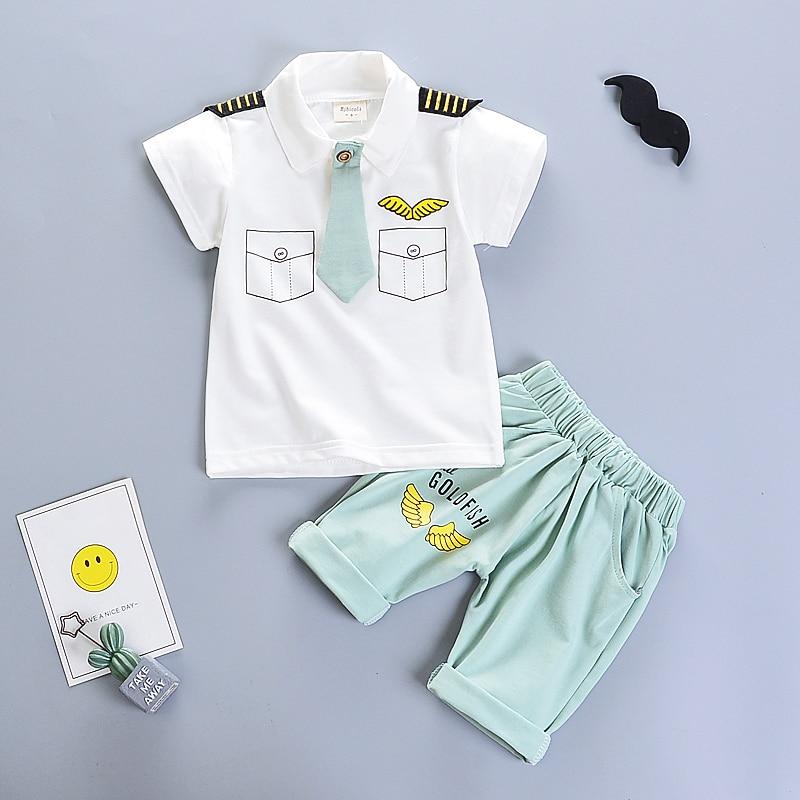 6b25c65dcf0 BibiCola summer baby boy clothing sets toddler boys pilot outfits T-shirt+pants  clothes