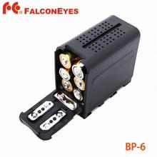 Falcon eyes 6pcs aa bateria caso pacote de energia como NP F970 para painéis de luz de vídeo led ou monitor yn300 ii, DV 160V