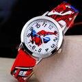2016 Hot Sale SpiderMan Relógio Relógio Bonito Dos Desenhos Animados Presente Das Crianças Das Crianças Relógios Relógio de Quartzo de Borracha Hora reloj montre relogio
