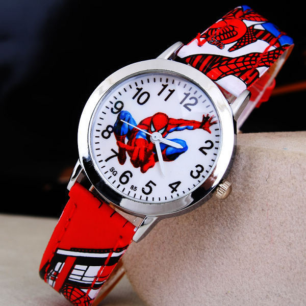 Reloj de Spiderman de goma y cuarzo para niños