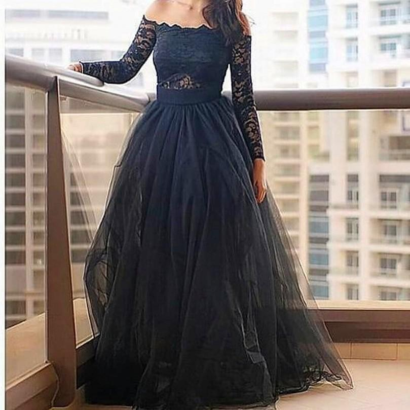 Tulle Black Evening Long Dresses Lace Long Sleeve Off Shoulder Ball ...