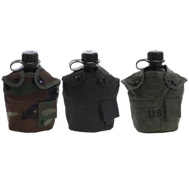 Heavy Cover Army Water Bottle Aluminum Cooking Cup US 1L Military Canteen Camping Hiking Survival Kettle Outdoor Tableware New