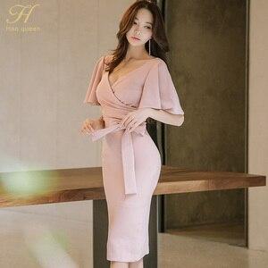 Женское облегающее платье H Han Queen, розовое облегающее платье-карандаш с бантом в стиле ретро на лето, свадьбу, вечеринку, для особых случаев