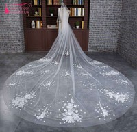 Real Photos Lace Appliques Flower One Layer Ivory Wedding Veils Bridal Veil