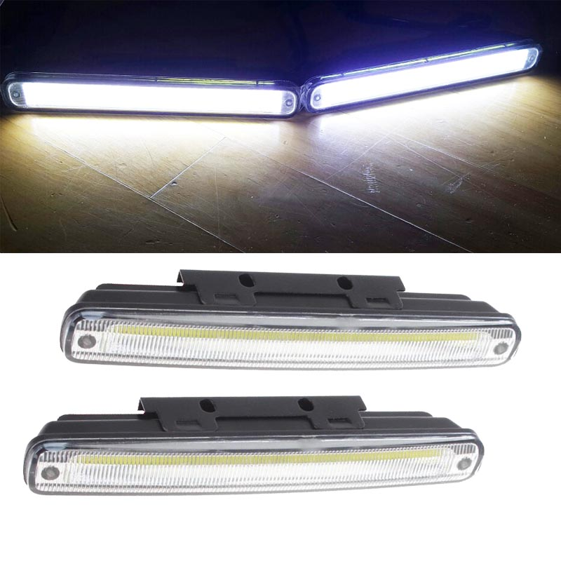 HOPSTYLING 2x Super bright 18CM COB LED Daytime Running Light COB LED Bulbs DRL Car Fog Headlight Auto Lamp Bulb Replacement high quality h3 led 20w led projector high power white car auto drl daytime running lights headlight fog lamp bulb dc12v