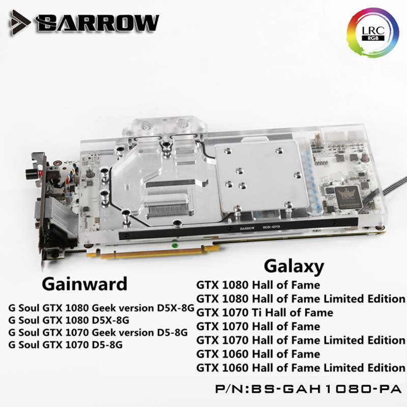 BS-GAH1080-PA Barrow water cooling block for Galaxy GTX1080/1070/1060/ GAINWARD G Soul GTX 1080 Geek gpu cooler with controller цены