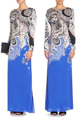 European new Bohemia extended elastic thin blue print beautiful dress
