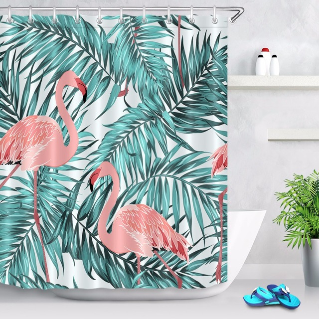 72 Bathroom Fabric Shower Curtain Liner Vintage Tropical Green Palm Tree Pink Flamingos Polyester Waterproof 12 Hooks
