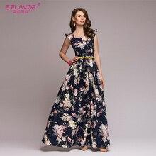 S.FLAVOR Women printing party dress 2018 Popular sleeveless square collar sexy long vestidos Women Elegant autumn pleated dress