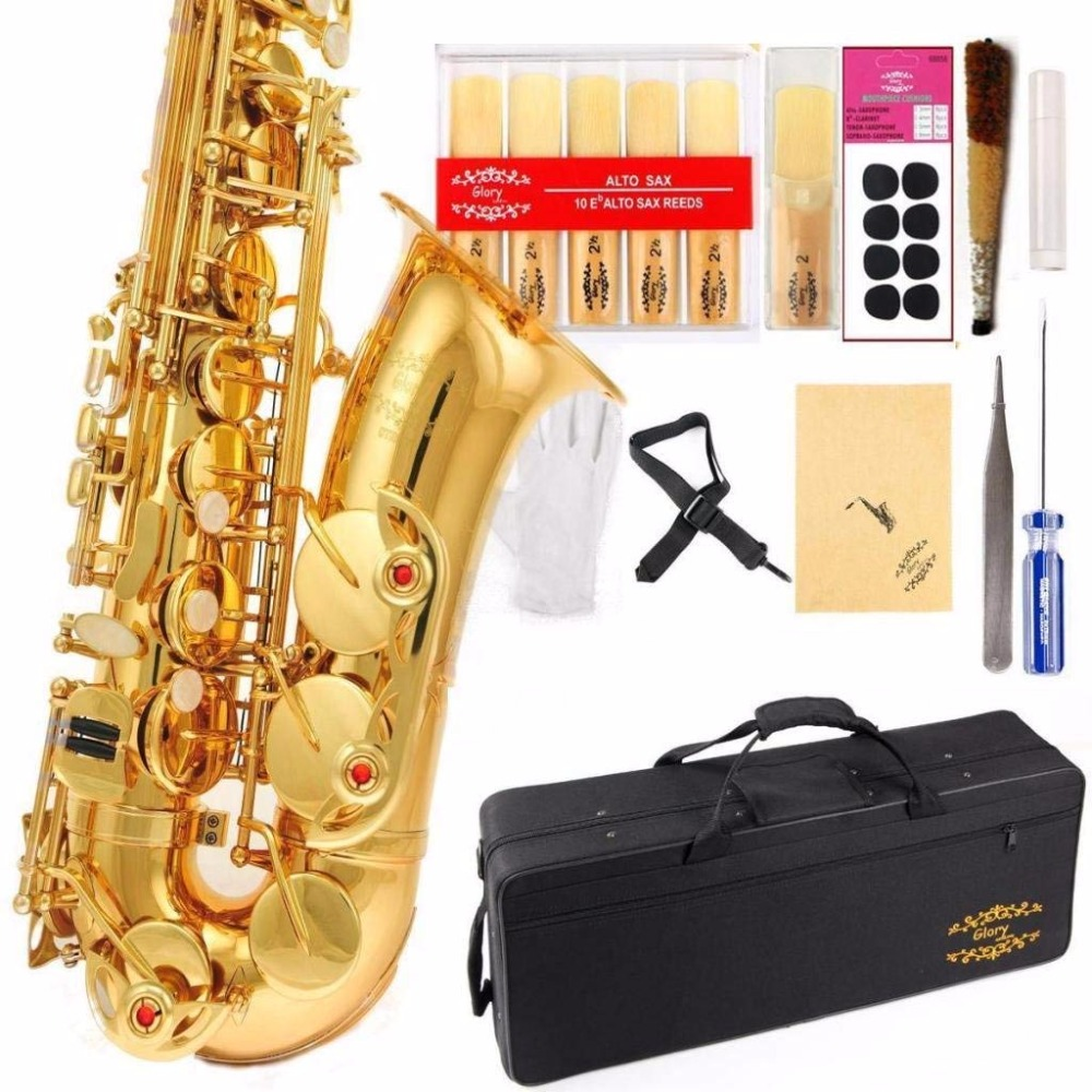 Хит продаж 803 саксофон alto музыкальных инструментов saxofone электрофорез золото профессиональный саксофон и жесткого коробок