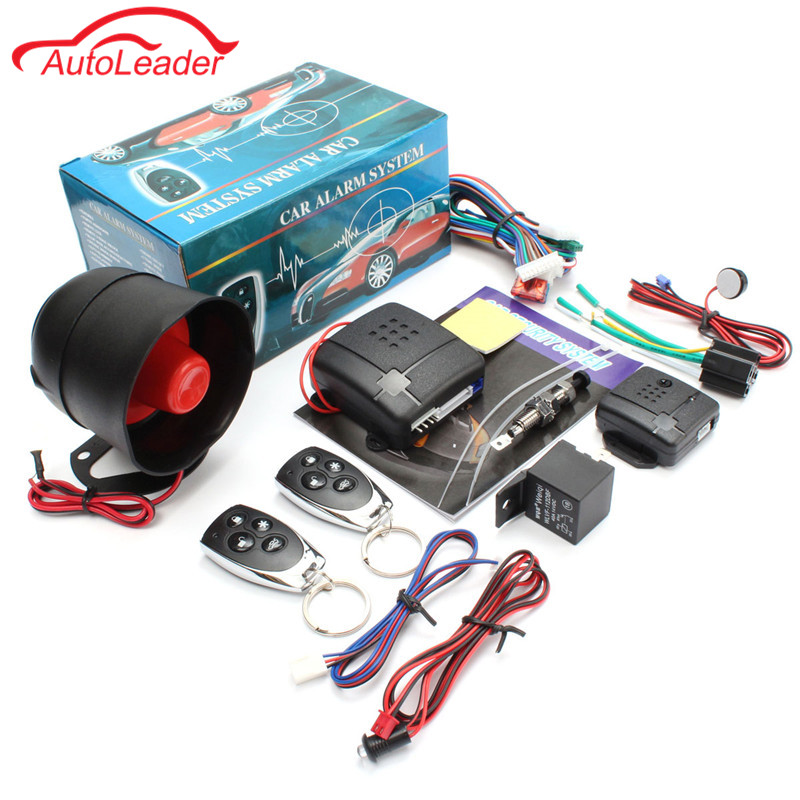 Universal 1- Way Car Burglar Alarm Vehicle Protection Security System Keyless Entry Siren with 2 Remote Control