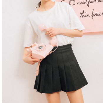 Pink Pleated Satin Skirt summer High Waist   2