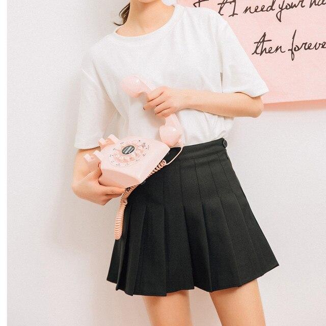 Pink Pleated Satin Skirt summer High Waist   2