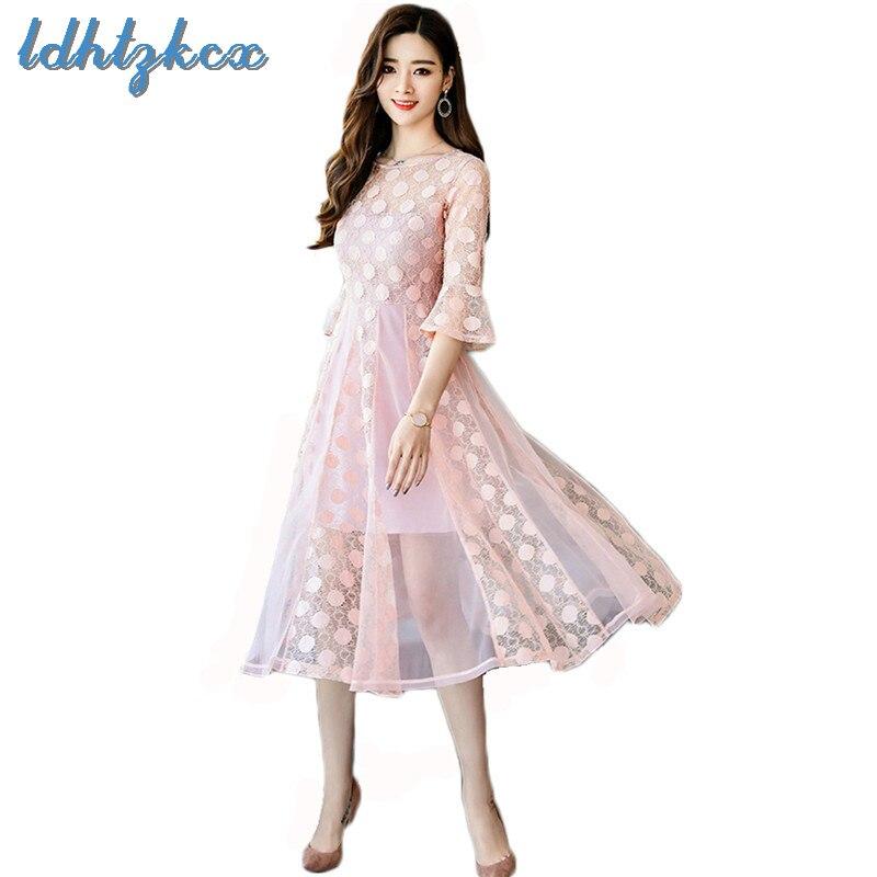 bce6a1ca21cf Flare Mezza 2018 Più Sottile pink Rosa Coreano Vestito Pizzo O Abito Manica  light Dell ufficio ...