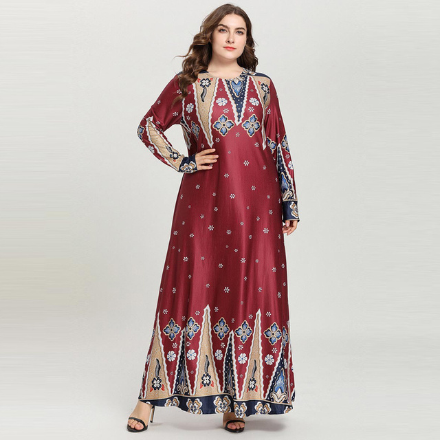 aa873cd1796 US $28.4 35% OFF|4 colors Vintage Pattern Round Neck Maxi Long Dress Women  Ethnic Floral Print Spring Autumn Dresses Muslim Abaya Wine Plus Size-in ...