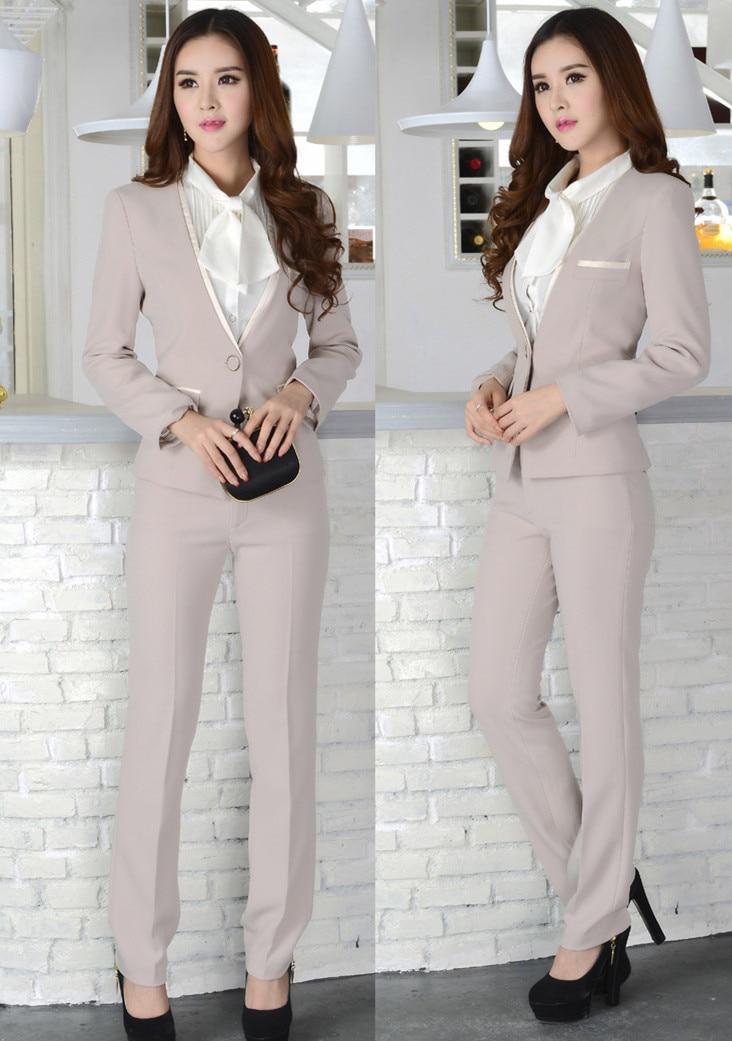 Office Ladies Beige / Black Pants suits Hot Autumn Winter Spring ...