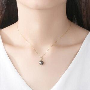 Image 4 - Настоящее чистое 18 К Золотое ювелирное изделие 6 цветов натуральный жемчужный кулон ожерелье s модное простое женское ожерелье
