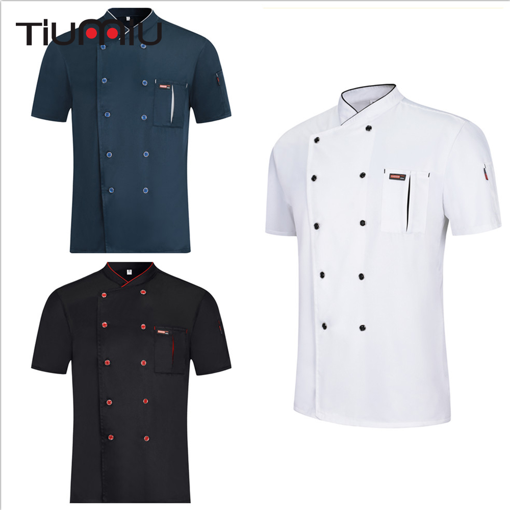 New Chef Restaurant Uniform Summer Short Sleeve Breathable Unisex Chef Shirt Hotel Kitchen Bakery Barbershop Overalls Wholesale