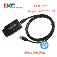 50pcs/lot ELM327 WIFI USB Supports iOS/Android/Windows ELM 327 Wireless + Cable OBD2 Code Reader Works Multi Cars DHL Free