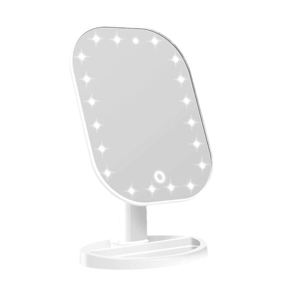 1 шт., светодиодный сенсорный экран, зеркало для макияжа, косметическое зеркало, косметическое зеркало для рук, для спальни, дома, без батареи - Цвет: Белый