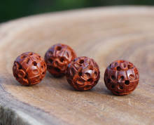 11mm Natural Red Sandalwood Beads Hollow Loose Tiny Charms Mala Beads Japa Bead Bracelet Jewellry Findings DIY Accessories