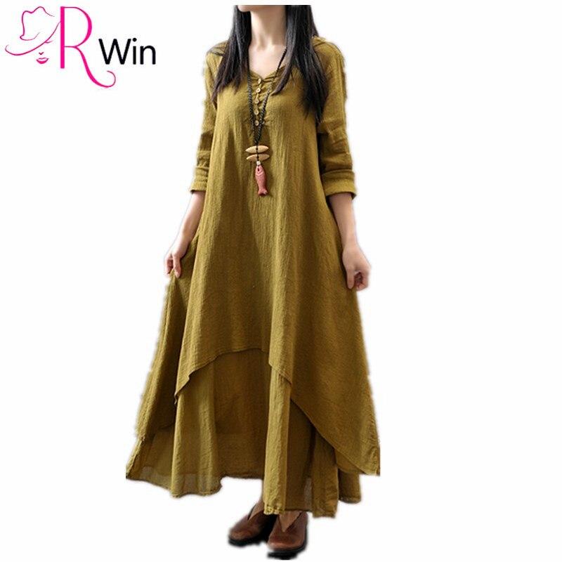 c74066793d Kobiet dorywczo luźna długa sukienka 95% bawełna pościel len sukienki  letnia sukienka jednolity kolor długa sukienka Plus rozmiar 5XL dropship  vestido w ...