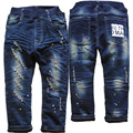 3963 paint spot winter  jeans  boys trousers  kids hole jeans girl Double-deck denim and  fleece  navy blue little hole