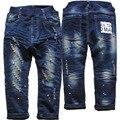 3963 pintura ponto de inverno calças de brim calças meninos crianças calças de brim do furo da menina Double-deck de denim e velo azul marinho pequeno buraco