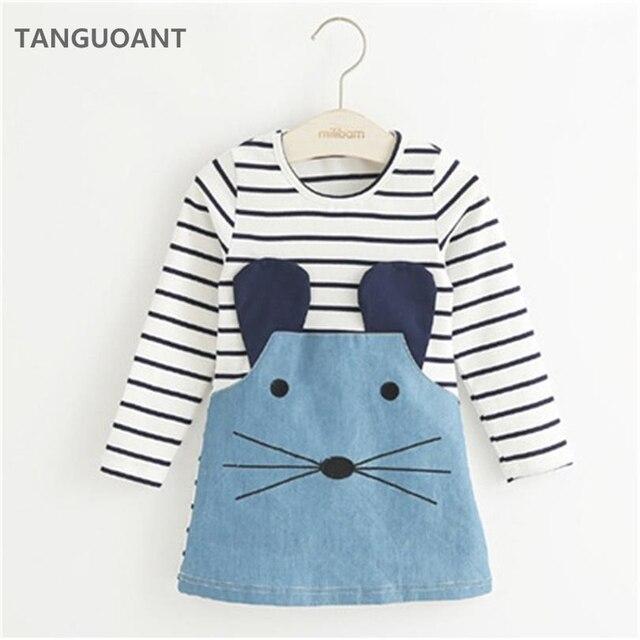 TANGUOANT פסים טלאים אופי ילדה שמלות ארוך שרוול חמוד עכבר ילדי בגדי ילדים בנות שמלת ג 'ינס ילדים בגדים