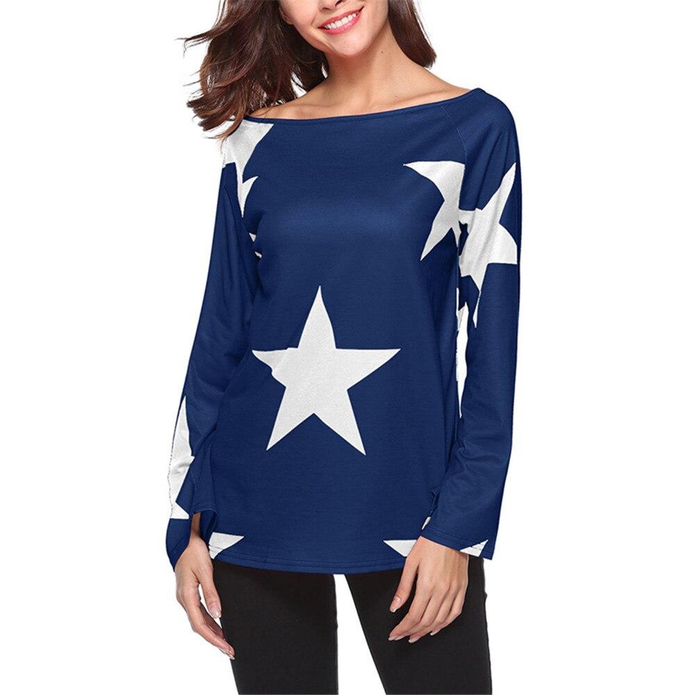 2018 Spring New Pentagram Print T Shirt Women Long Sleeve Slash Neck Casual Tshirt Female Off Shoulder Soft Loose T-Shirt Tops