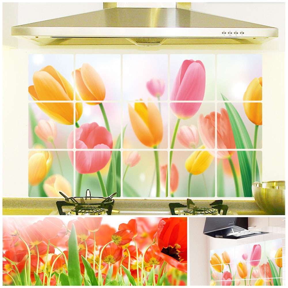 ୧ʕ ʔ୨Home Decoration DIY Exhaust Grease Oil Proof Romantic Tulips ...