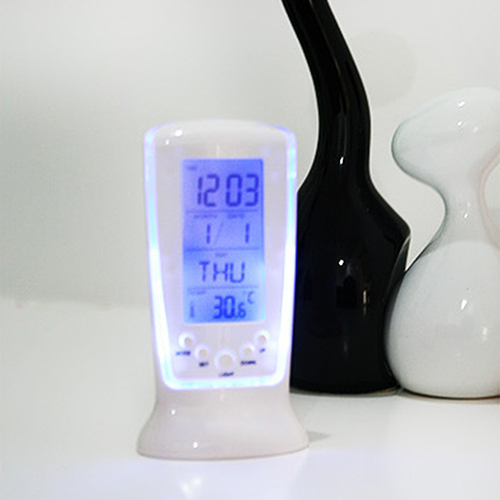 LED Digital LCD Alarm clock calendar thermometer with Blue Backlight Desk Clock 2