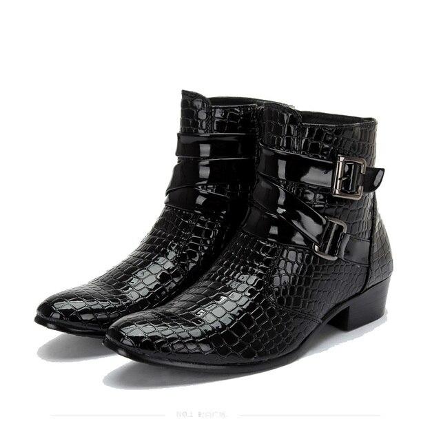 2016 Мода Крокодил Лакированной Кожи Мужчины Сапоги, теплые Зимние Мужские Сапоги, кожа Мужчины Ботильоны, повседневная Мужская Кожаная Обувь 3 # D49
