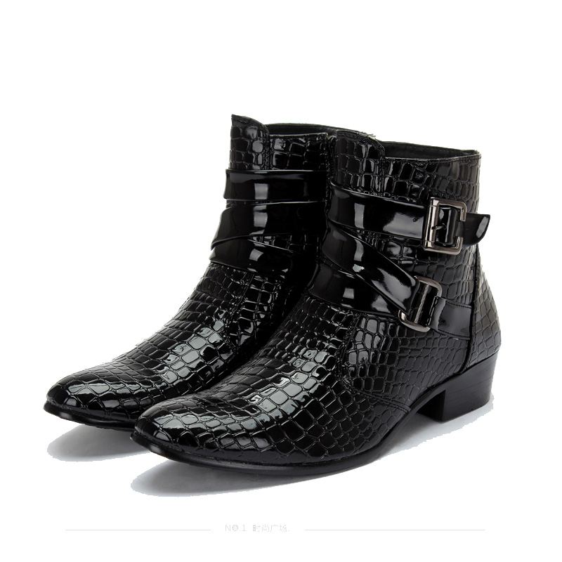 2016 Fashion Crocodile Patent Leather Men Boots, Warm Men ...