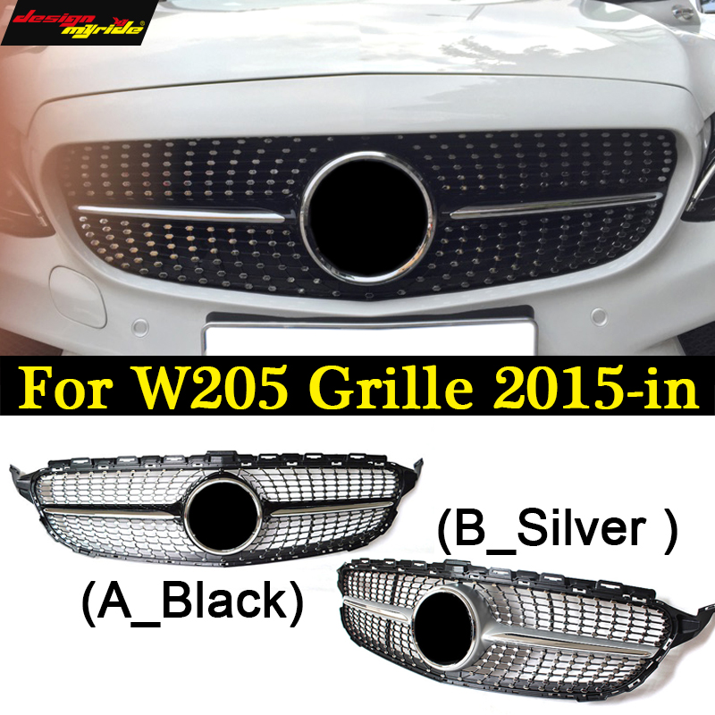 For Mercedes New C Class W205 Diamond Grille ABS Material C180 C200 C250 C280 C300 C350 C400 C450 Sporty 2015-18 Front Grille
